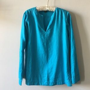 Lauren Ralph Lauren blue linen tunic top Small